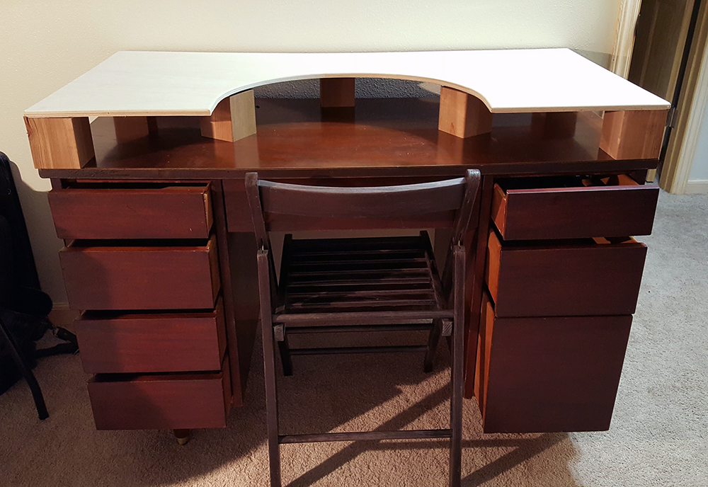 A shot of the desk with the raised surface